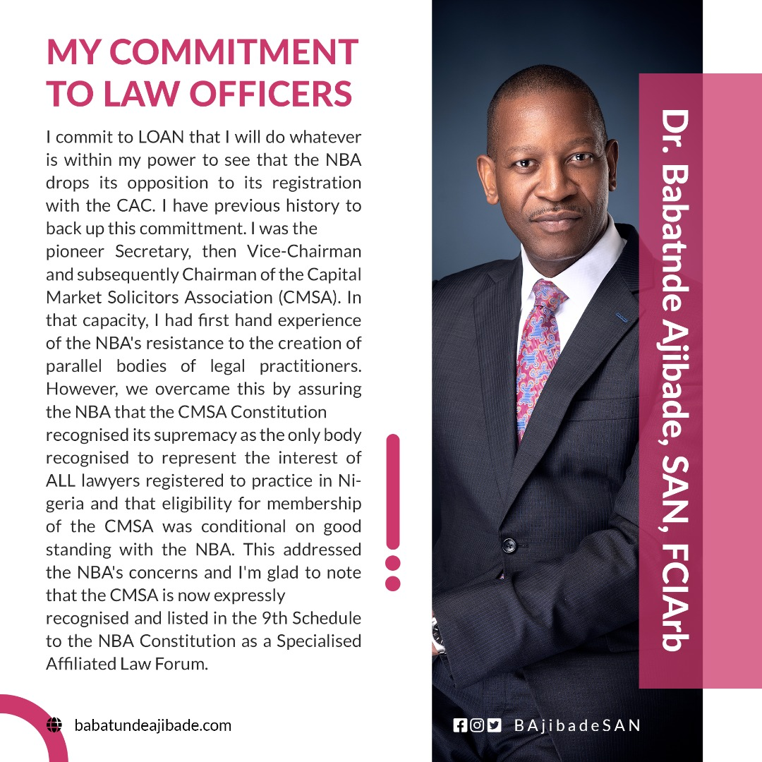 MY COMMITMENT TO THE LAW OFFICERS ASSOCIATION OF NIGERIA (LOAN)